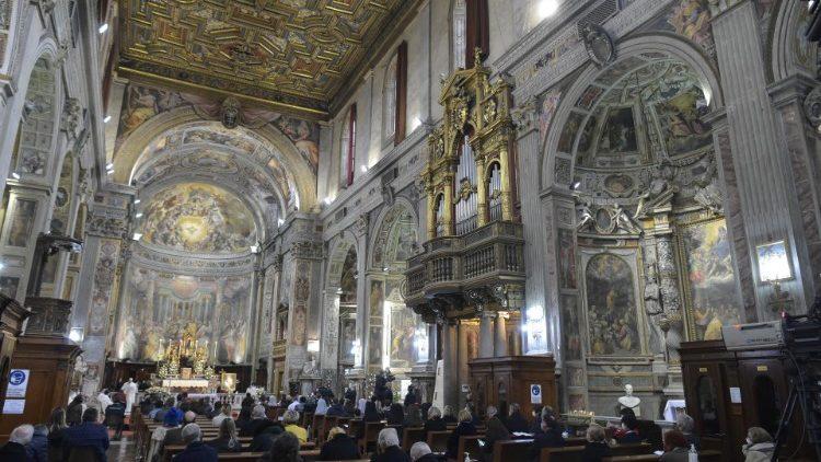 Pope Francis celebrates Mass in the Church of Santo Spirito in Sassia